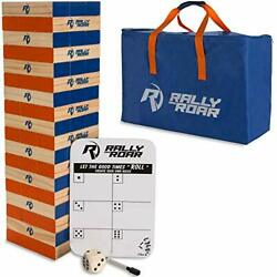 Rally And Roar Giant Tumbling Timbers Game – 2.5 Feet Tall Build To Over 5 Fe...