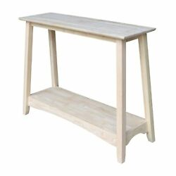 Bombay Unfinished Solid Parawood Console Table Unfinished Transitional