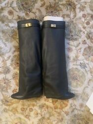 Givenchy Shark Tooth Black Leather Boots - Sz 9.5 Womenand039s - Sold Out In Stores