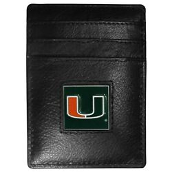 Miami Hurricanes Leather Money Clip Cardholder Wallet Packaged In Gift Box
