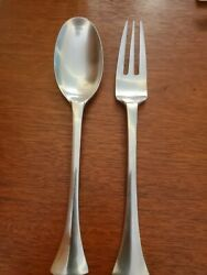 Dansk Designs Thistle Stainless Flatware Serving Spoon And Fork