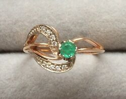 Solid 14ct Gold 585 Siberian Genuine Green Emerald And Diamond Ring. Hallmarked