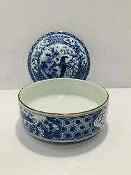 Stackable Porcelain Blue Peacock Toyo Imari Gold Rim 6andrdquo Bowl With Nesting Lid