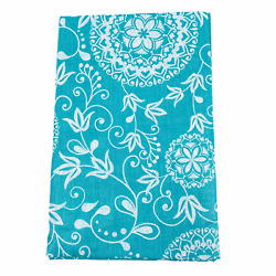 Vinyl Tablecloth Flannel Backed Assorted Sizes Teal Green Floral Pattern Picnic