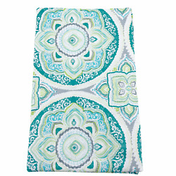Vinyl Tablecloth Flannel Backed Assorted Sizes Teal Green Gray Geometric Summer