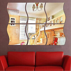 6PC 3D Mirror Wall Sticker Waves Shape Self adhesive Home Bedroom Wall Decor US