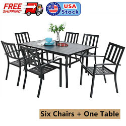 7 Piece Outdoor Patio Dining Set Metal Furniture Stackable Chairs Table Black