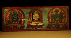 @ Wonderful 19th Century Old Antique Tibet Buddhism Thangka Wooden Sutra Cover @