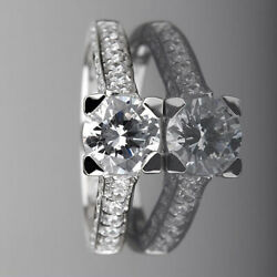 Si1 1.85 Carats 4 Prongs Diamond Ring Round Sparkling Anniversary 14k White Gold