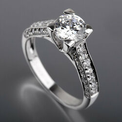 Side Stones Diamond Ring Round 1.75 Ct Earth Mined 18 Kt White Gold Size 6 7 8