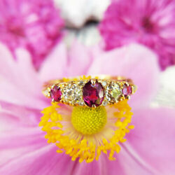 Antique Victorian 18ct Gold Ruby And Diamond Five Stone Ring Vintage Uk Size Q