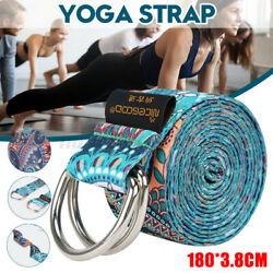 5.9ft Yoga Strap Stretching Exercise Belts Durable With Grip Loop Double D-ring