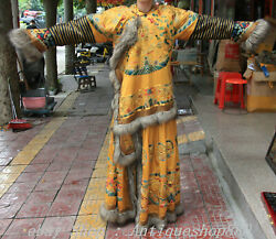 62 Old China Silk Cloth Gold Wire Dynasty Dragon Emperor Robe Imperial Robe