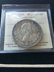 1955  Iccs Graded Canadian Silver Dollar Ms-65