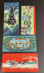 Vintage Lot Of 4 Christmas Cards Hawthorne Tree Ornaments Sleigh Glitter