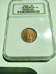 Ultra Rare 1864-l Indian Head Cent Ngc Ms-66 Rb Rpd Snow 1