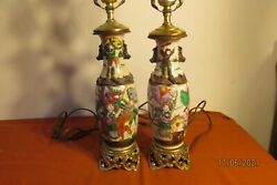 Pair Antique 20th Large Chinese Porcelain Lamps Absolutely Beautiful Ornate