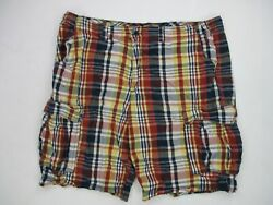 The foundry supply co Mens Plaid Cargo Shorts Sz 48 Real Size