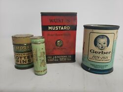 Lot Vintage Spice Tin Can Watkins Mustard, Tums, Gerber Baby, Campbell