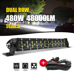 14inch 480w Led Work Light Bar Spot Offroad Driving Boat 4wd Atv Wiring Kit 15