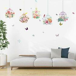 Colorful Birdcage Wall Decals Tree Branch Wall Stickers Flower Birdcage 5