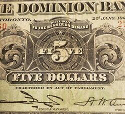 1925 Dominion Bank 5. Rare Canadian Chartered Banknote. Austin Signed.
