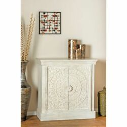 Rustic 36 X 34 Inch White Square Carved Wooden Chest By White No Drawers
