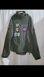 Menand039s Rothco Tactical Soft Shell Jacket Size 2xl / 5 Patches Removable Hood