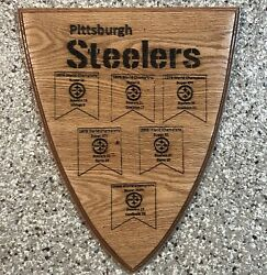 Pittsburgh Steelers Custom Wood Engraved Super Bowl Champions Banner Man Cave