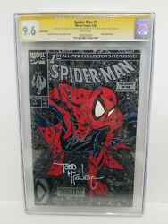 Spiderman 1 Silver Edition Cgc 9.6 Ss Signed 2x Stan Lee And Todd Mcfarlane 1990