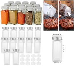 Lot Glass Spice Jars Bottles Square Clear Airtight Salt Herbs Container With Lid