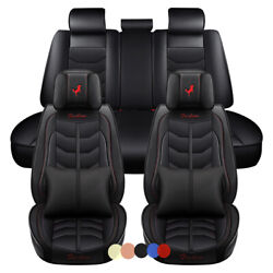 6d Pu Leather 5-seats Car Seat Covers Racing Style Front And Rear Interior Cushion