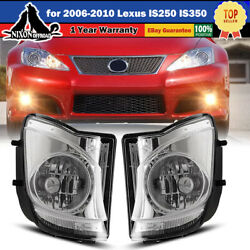 Driving Fog Lights Bumper Lamp Pair For 2006-2010 Lexus Is250 Is350-clear Lens