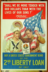 Ww 1 Poster Shall We Be More Tender...bond Drive /liberty Loan 1917 Vintage