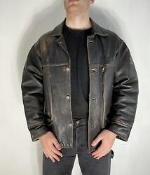 Pall Mall Vntg American Classic Wings Brown Button Leather Aviator Jacket Size L