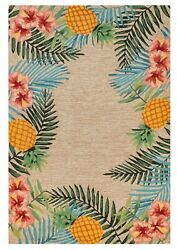 Area Rugs - Tropical Paradise Indoor Outdoor Border Rug - 8'3 X 11'6