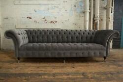 Xxl 4 Places Canapandeacute Rembourrage Grand Canapandeacutes Chesterfield Cuir Tissu Neuf
