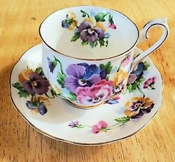 Vintage Queen Anne Spring Melody Pansies Tea Cup And Saucer Fine Bone China