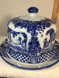 Antique China Covered Butter Dish Blue And White Cow Rooster Floral Checkerboard