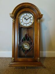 Vintage President Oak Stained Leaded Glass Fronted Wall Clock With Chime -quartz