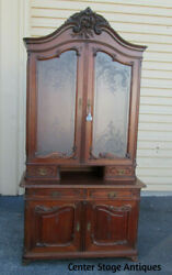 57610 Louis Xv China Cabinet Breakfront Quality Frosted Etched Glass 2 Piece