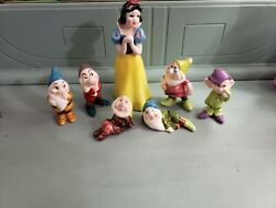 Vintage Snow White And The Seven Dwarfs And Cinderella Porcelain Figurines