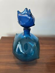 Vintage Blenko Blue Hand Blown Glass Decanter By Wayne Husted 5912