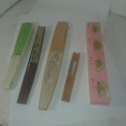 Vintage Japanese Paper And Wood Folding Hand Fan Hand Painted Floral - Lot Of 5