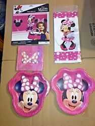 Minnie Mouse Birthday Party Supplies 16 Guests Plates Napkins Table Cover + New