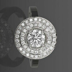 Diamond Double Halo Ring 18k White Gold Solitaire Accented 4 Prong 2.26 Ct