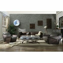 Acme Porchester Distressed Chocolate Top-grain Leather Sofa N/a Modern And Contemp