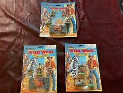1990s Moc Britains Wild West Cowboys And Indians 1/32 Playset Figures 3 Sets S13