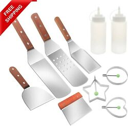 Griddle Accessories Kit 10 Pcs Barbecue Tool Set Flat Top Bbq Outside Grill