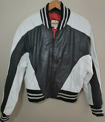 Vtg 80s Wilsons Leather Small Black And White Bomber Jacket Stripped Trim Rare